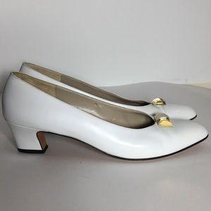 Salvatore Ferragamo Vintage white heels. Size 9.5.